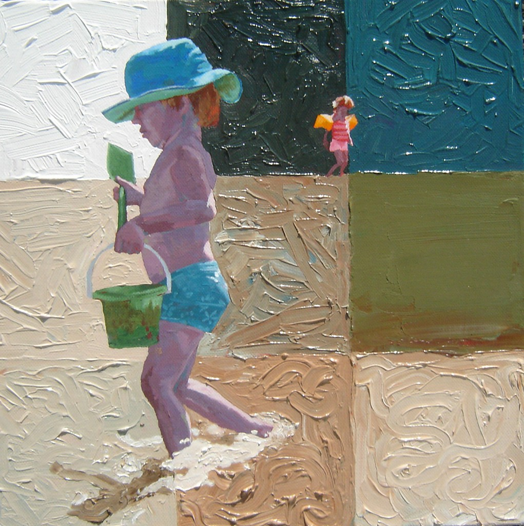 Portait of girl with blue sun hat